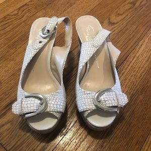 Franco Sarto White Leather Wedge Sandals